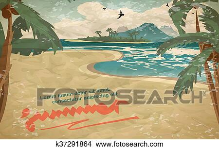 Clipart of summer vacation concept background with space for text in vector cartoon illustration sea landscape summer beach palms sand oastline stretches into distance with a sandy beach voltagebd Choice Image