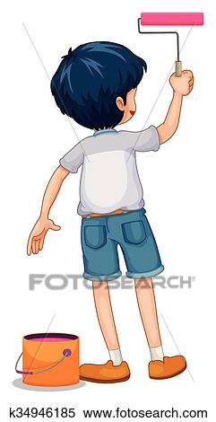 Boy Painting The Wall Clipart