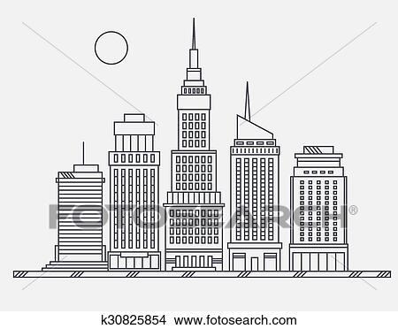 Clipart - centrocomercial, de, ciudad grande, calle, rascacielos ...