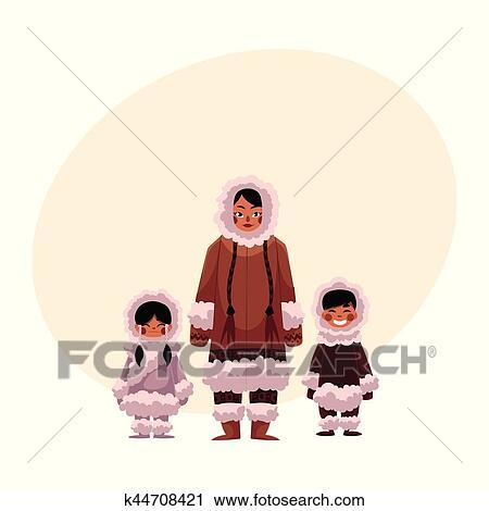 Esquimau Inuit Femme à Deux Gosses Dans Chaud Vêtements Hiver Clipart