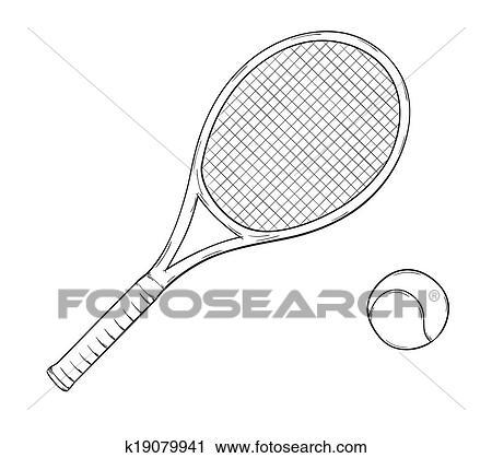 Clipart raquette tennis k19079941 recherchez des clip - Raquette dessin ...