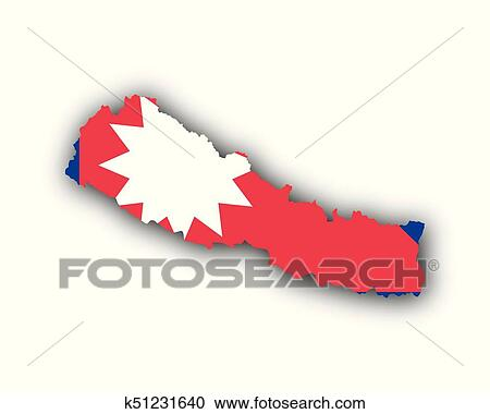 Clipart of Map and flag of Nepal k51231640 - Search Clip Art ...