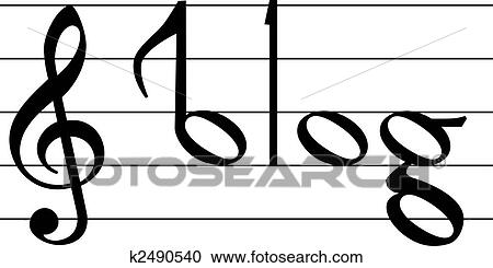 Clipart Of Music Note Symbol Blog Word Design K2490540 Search Clip