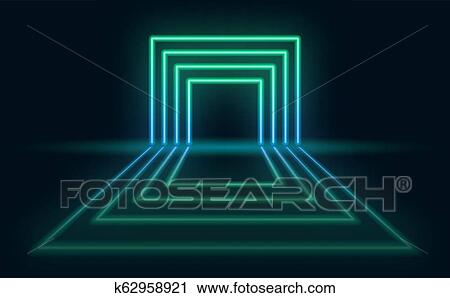 Neon Abstract Futuristic Background Neon Portal With