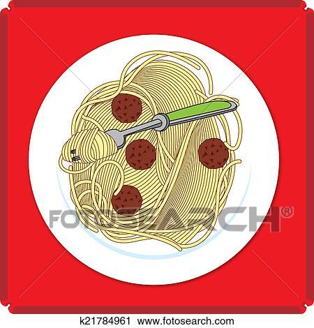 Spaghetti and Meatball Food Icon Clip Art | k21784961 ...