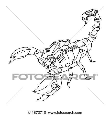 Steampunk Estilo Escorpión Libro Colorear Vector Clipart