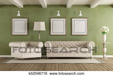 Verde bianco, classico, soggiorno Archivio Illustrazioni