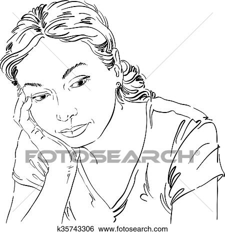 Vetorial Arte Desenho Retrato De Triste E Deprimido Menina