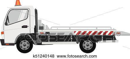 Clip Art White Tow Truck Flat Vector With Solid Color Design Fotosearch