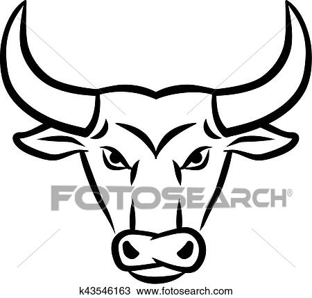 Angry bull head clipart k43546163 fotosearch - Dessin tete taureau ...