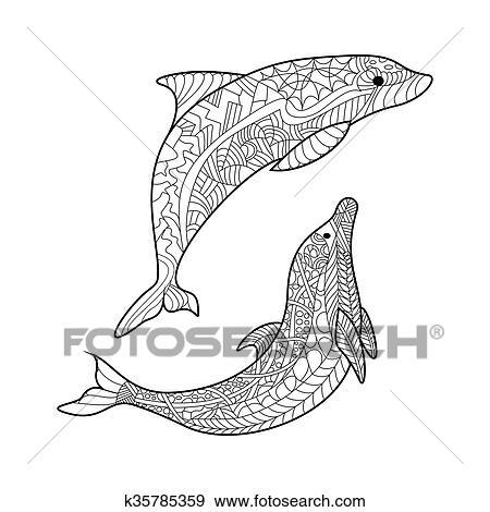 Clip Art Delfin Ausmalbilder Für Erwachsene Vektor K35785359