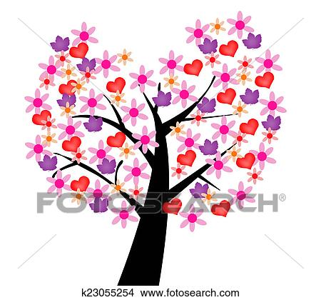Dibujos Ilustrated árbol De Amor K23055254 Buscar Clip Art