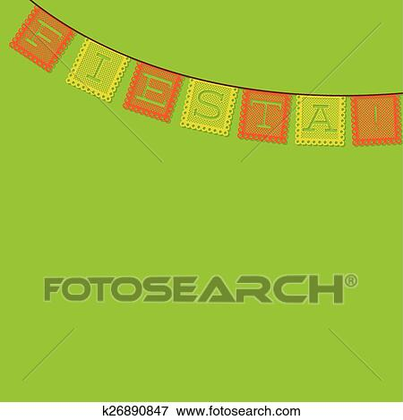 clip art of mexican papel picado paper flag decoration card in
