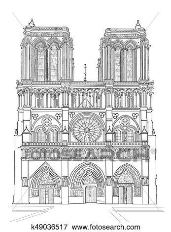 Notre Dame De Paris Disegno.Notre Dame Cathedral Clip Art K49036517 Fotosearch