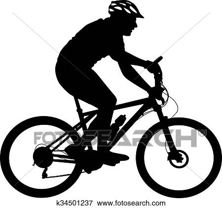 Clip Art Of Silhouette Of A Cyclist Male Vector Illustration