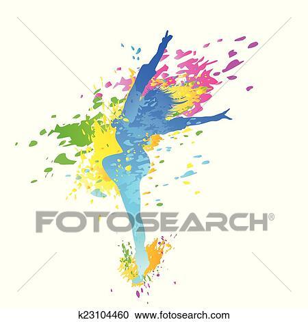 Clipart - tanzen, buntes, mädchen, spritzen, farbe, tanz k23104460 ...