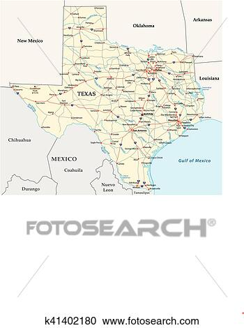Texas Road Map Clipart K41402180 Fotosearch