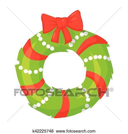 Vector Of Christmas Wreath Isolated On White Cartoon Style Cute