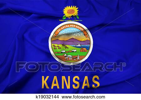 drawings of waving kansas state flag k19032144 search clip art