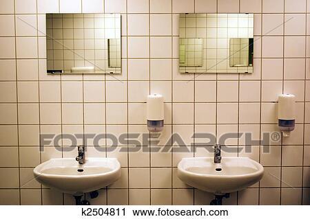 Public bathroom mirror Late Bathroom Stock Photography White Tiled Public Bathroom With Basins And Mirrors Fotosearch Search Stock Fotosearch Stock Photography Of White Tiled Public Bathroom With Basins And