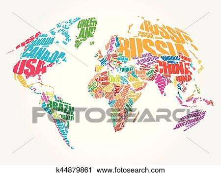 Clipart Of World Map In Typography Word Cloud K44879861 Search