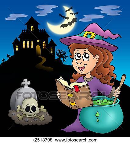 かわいい 魔女 で 一服 そして 大邸宅 イラスト K2513708