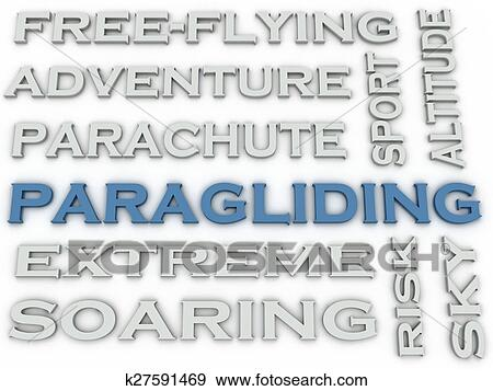 3d image Paragliding issues concept word cloud background Stock Illustration