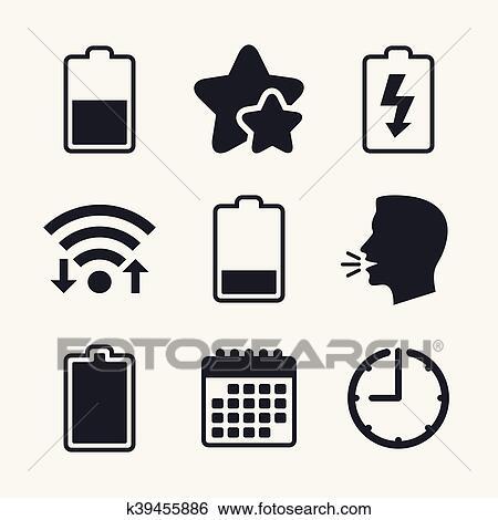 Clip Art - batterie, laden, icons., elektrizität, symbol. k39455886 ...