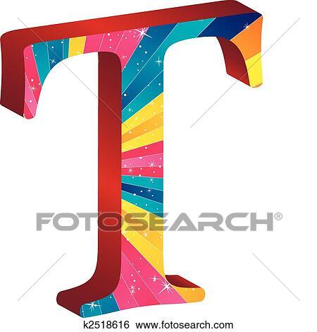 Clip Art - coloreado, alfabeto, con, rayas, y, estrellas k2518616 ...