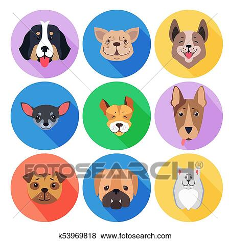 Clip Art Concetto Di Purebred Cani Su Colorato Cerchio