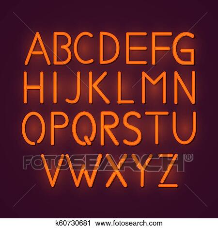 Green neon light glowing alphabet  Neon night font sign  Illuminated tube  light alphabet Clipart