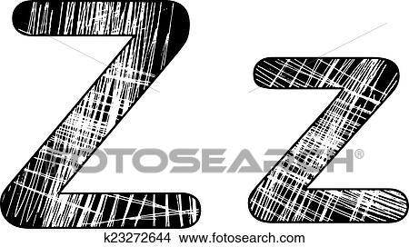 Grunge scratch letter Z alphabet symbol design on white  Clipart