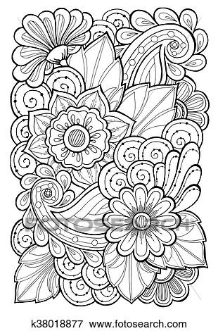 Hand Drawn Patterns With Flowers Ornate Patterns With Abstract Flowers And Leaves Doodle Floral Background Clip Art K38018877 Fotosearch