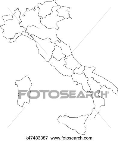Map Of Italy Black And White.Map Of Italy Divided Into 20 Administrative Regions White Land And Black Outline Borders Simple Flat Vector Illustration Clip Art