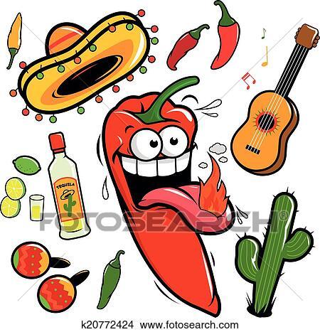 clipart of mariachi chilli pepper mexican icon k20772424 search rh fotosearch com Mariachi Band free clipart mariachi band