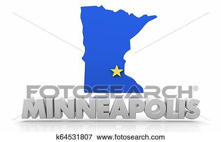 Minneapolis MN Minnesota City Map 3d Illustration Stock ...