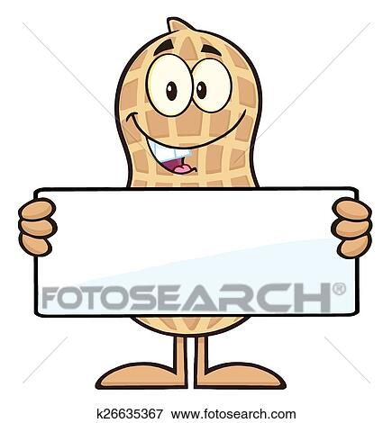 clip art of peanut holding a blank sign k26635367 search clipart rh fotosearch com blank picket sign clipart blank wooden sign clipart