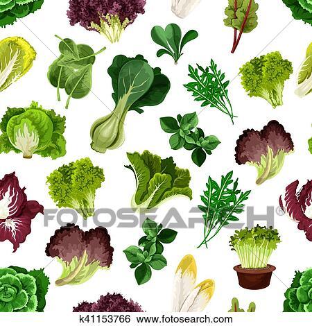 Salat Grün Und Blattgemüse Muster Clip Art