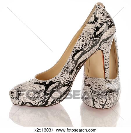 d90f63772da Picture - womens high heel python shoes on white background . Fotosearch -  Search Stock Photography
