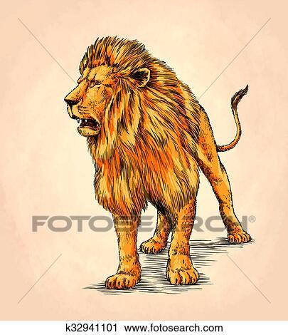 ブラシ 絵 インク ドロー 隔離された ライオン イラスト クリップ