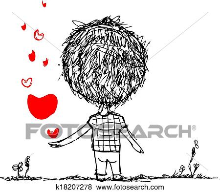 Clip Art Of Boy With Red Heart Valentine Card Sketch For Your
