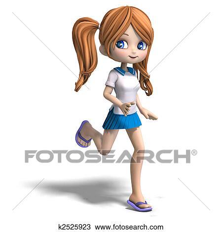 drawing of cute cartoon school girl k2525923 search clipart rh fotosearch com high school girl clipart happy school girl clipart