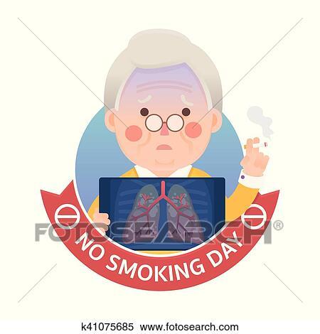 Fumo polmone problema con vietato fumare giorno segno clipart