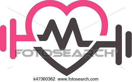 Clipart of love fit with pulse logo vector, letter M k47360362 ...