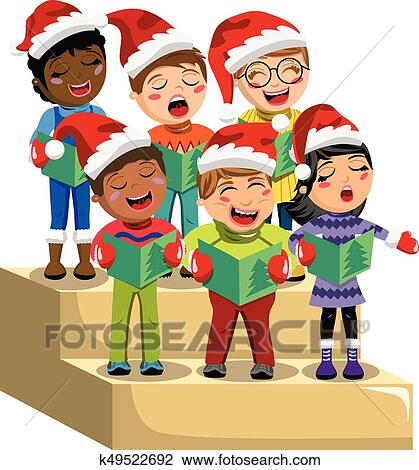 Christmas Carols Clipart.Multicultural Kids Xmas Hat Singing Christmas Carol Choir Riser Isolated Clipart