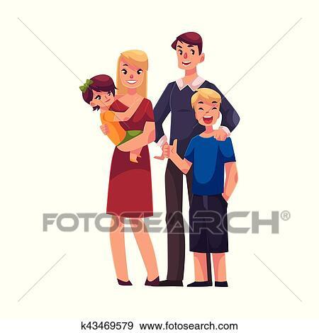 clipart portrait famille de p re m re fille fils debout ensemble k43469579 recherchez. Black Bedroom Furniture Sets. Home Design Ideas