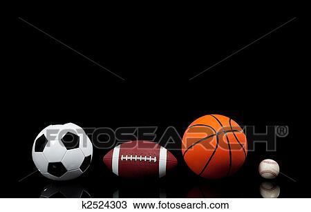 Multi Sports Balls On A Black Background