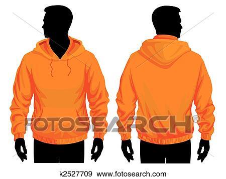 Men body silhouette with sweatshirt template, vector illustration