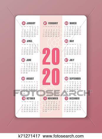 Calendario 2020 Semanas.Vetorial Calendario 2020 Year Semana Comeca De Domingo Clipart