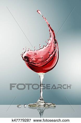 Vino Rosso Vetro Su Sfondo Grigio Archivio Illustrazioni